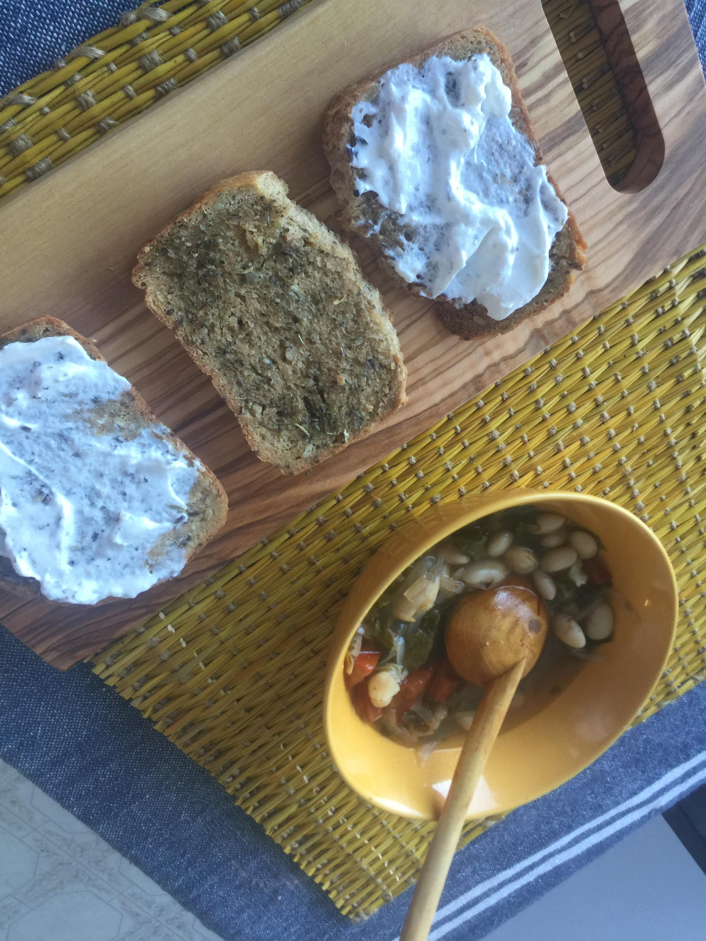 whitebean-kale-onions-tomatoes soup 7 home-made bread with herbes provinciales & lebne