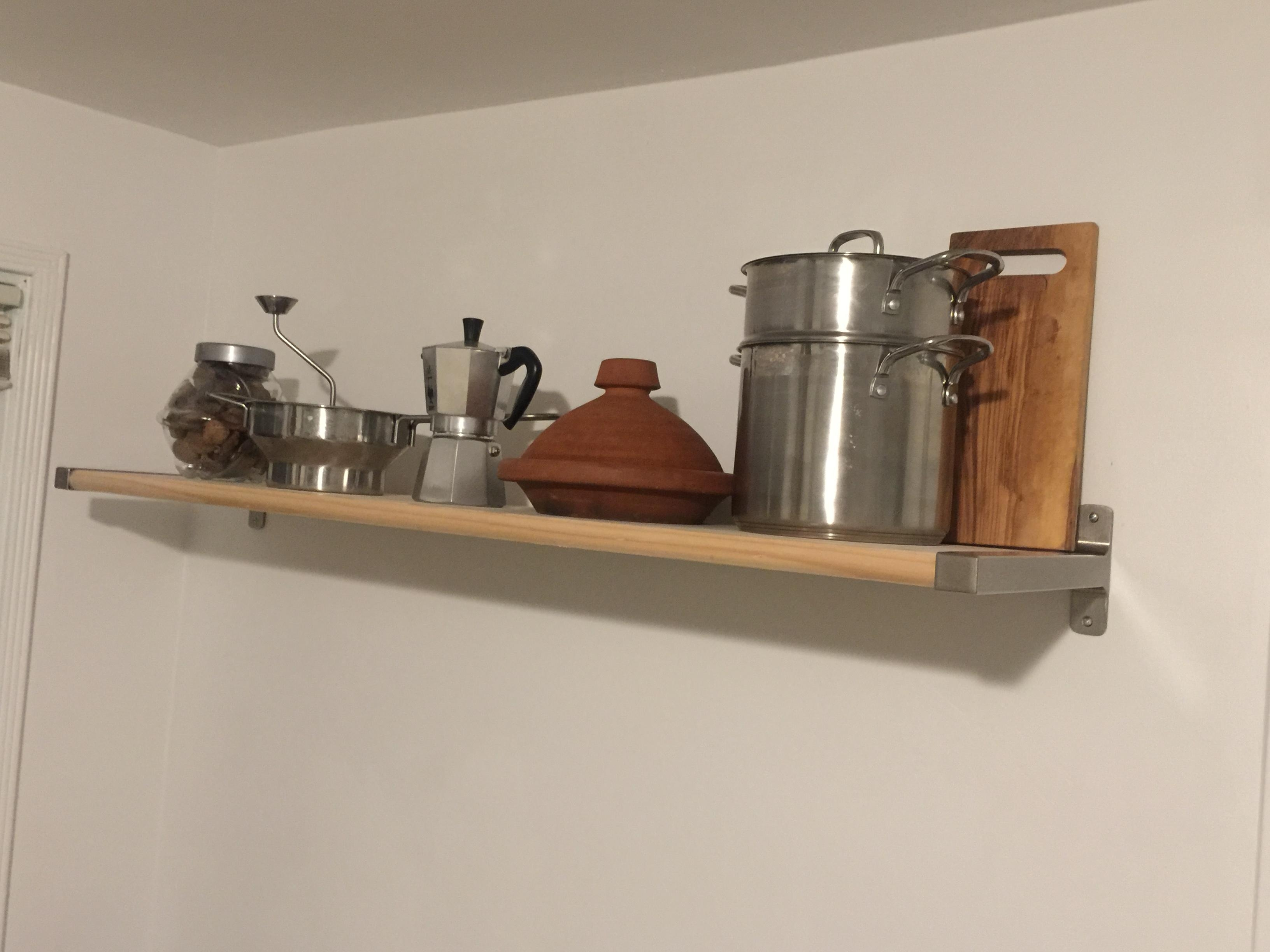 with Ikea brackets wood from homedepot, I created this shelf to hold some precious tools :)