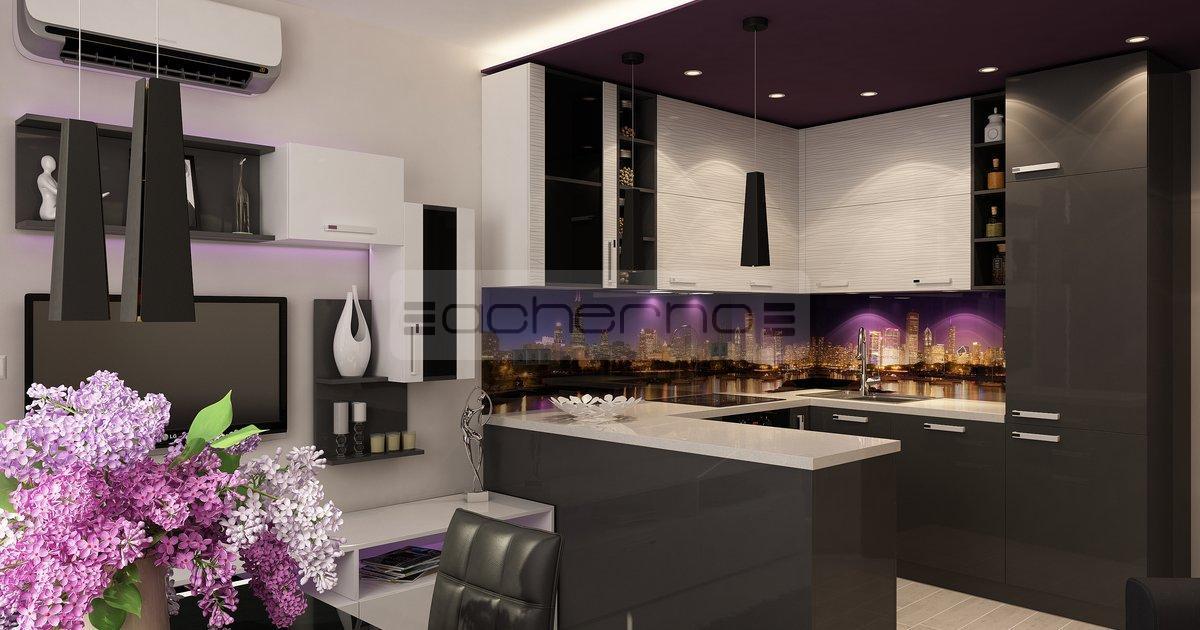 Wohndesign ideen in violett und dunkelgrau k che w for Raumgestaltung und innenarchitektur