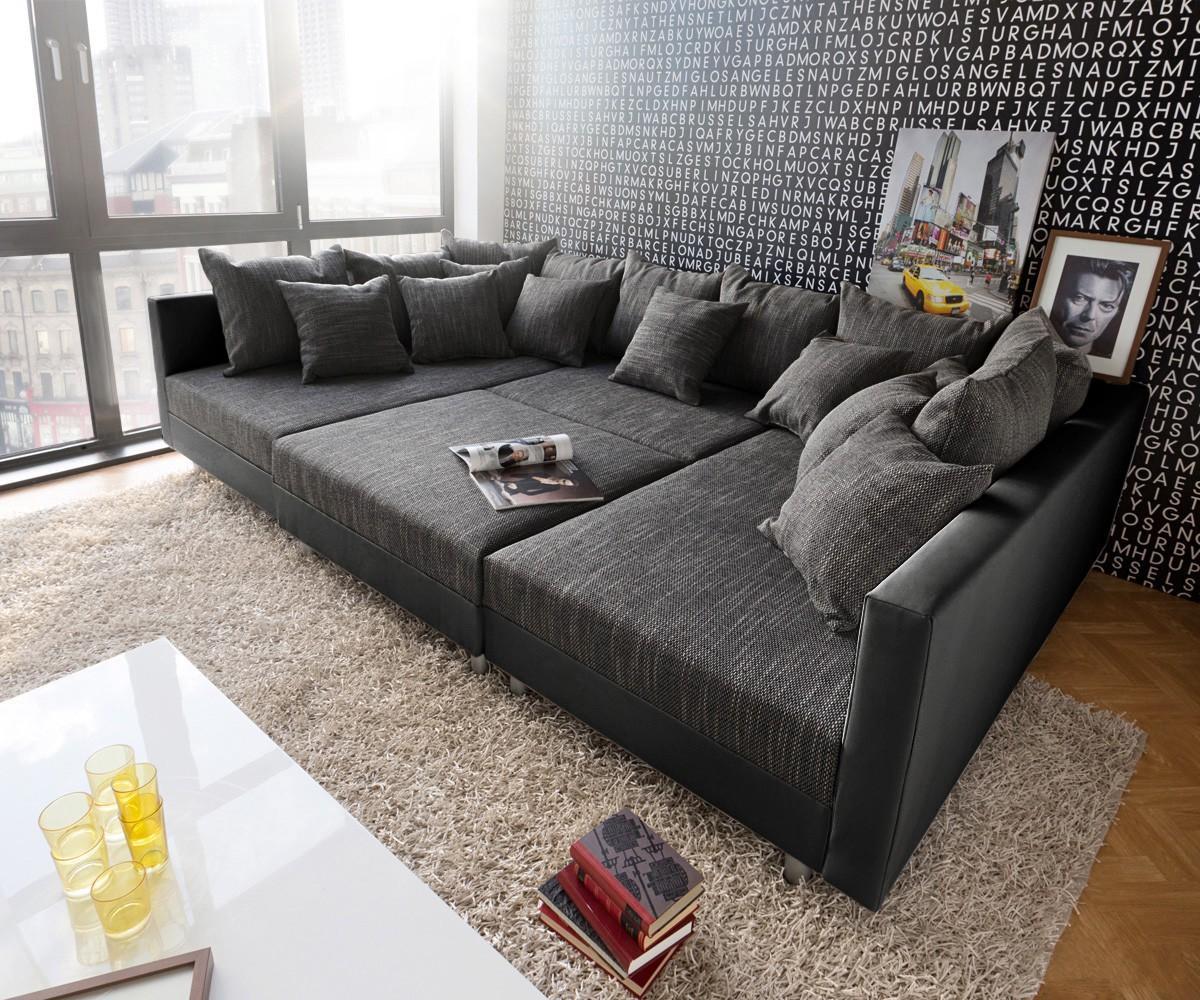 wohnlandschaft clovis xxl 300x185 schwarz kissen hoc. Black Bedroom Furniture Sets. Home Design Ideas