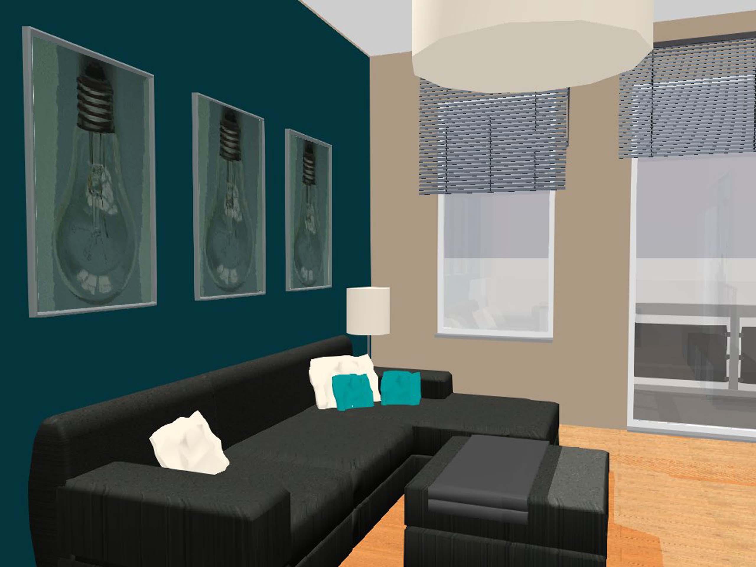 Wohnzimmer 3D Petrol #wohnzimmer #petrol ©Maurice Smolik
