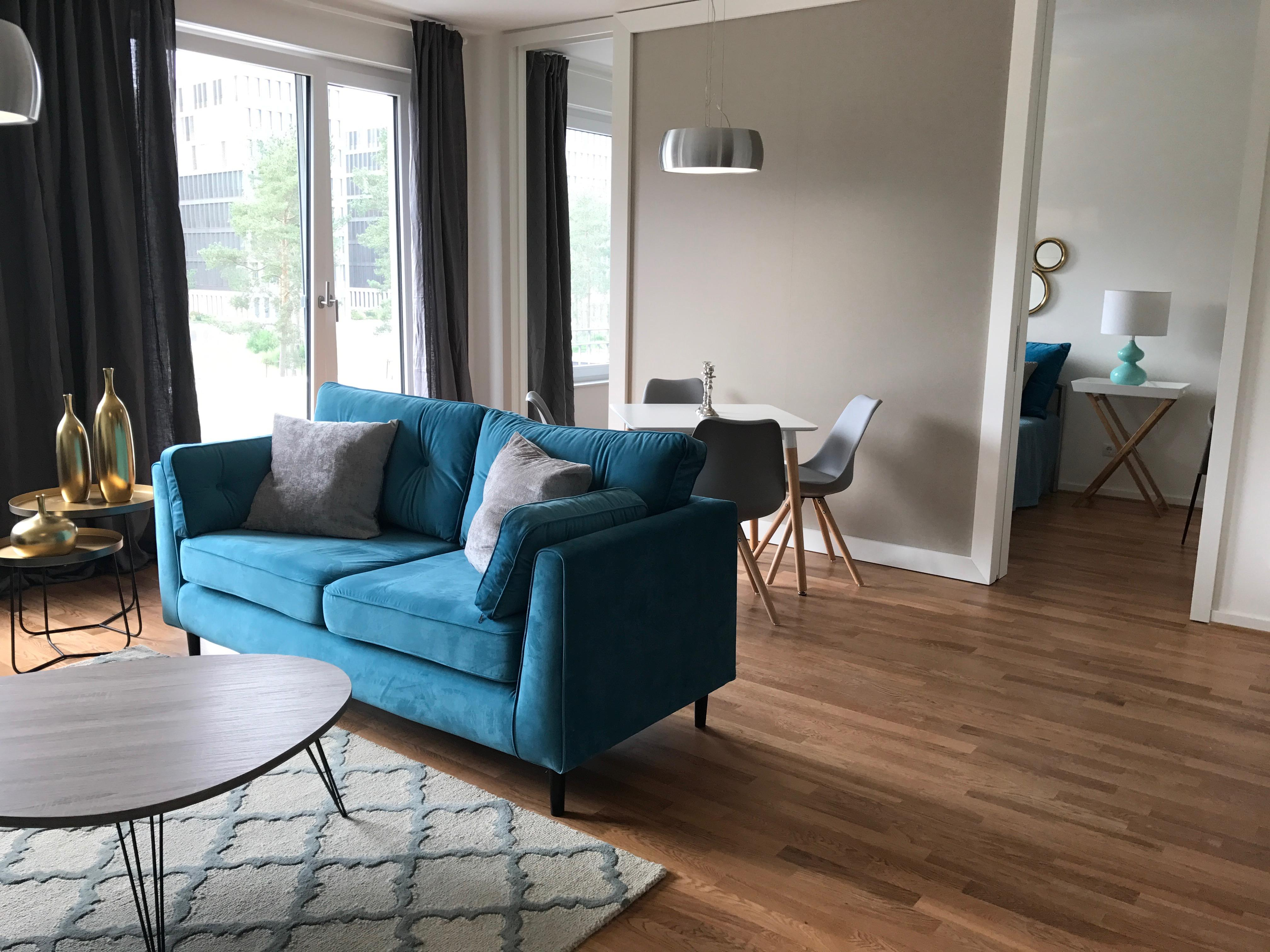 Wohnzimmer Blau Sofa CMiracle Room