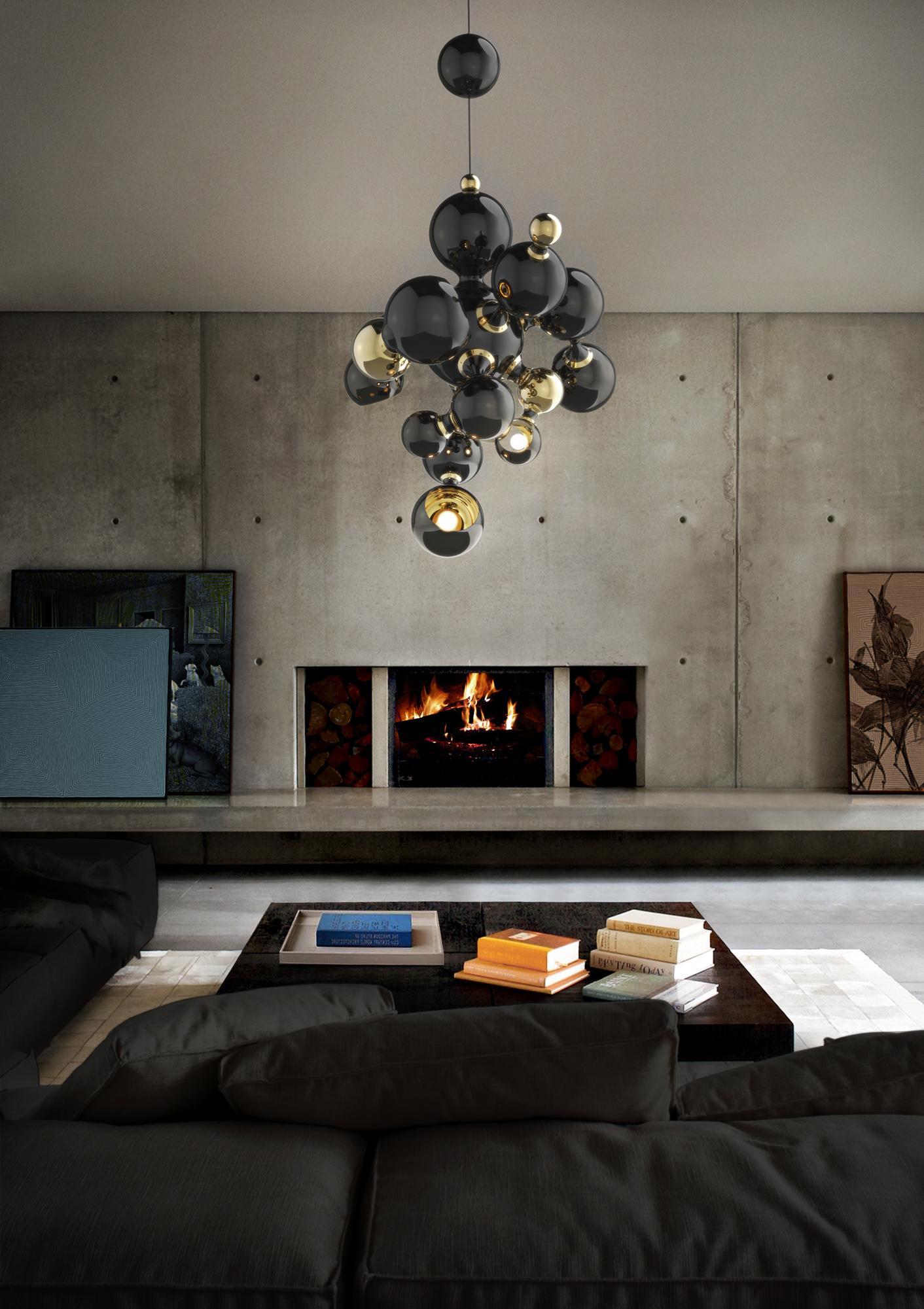 Wohnzimmer Im Industriedesign #kamin #wohnzimmer #pendelleuchte  #zimmergestaltung ©Delightfull