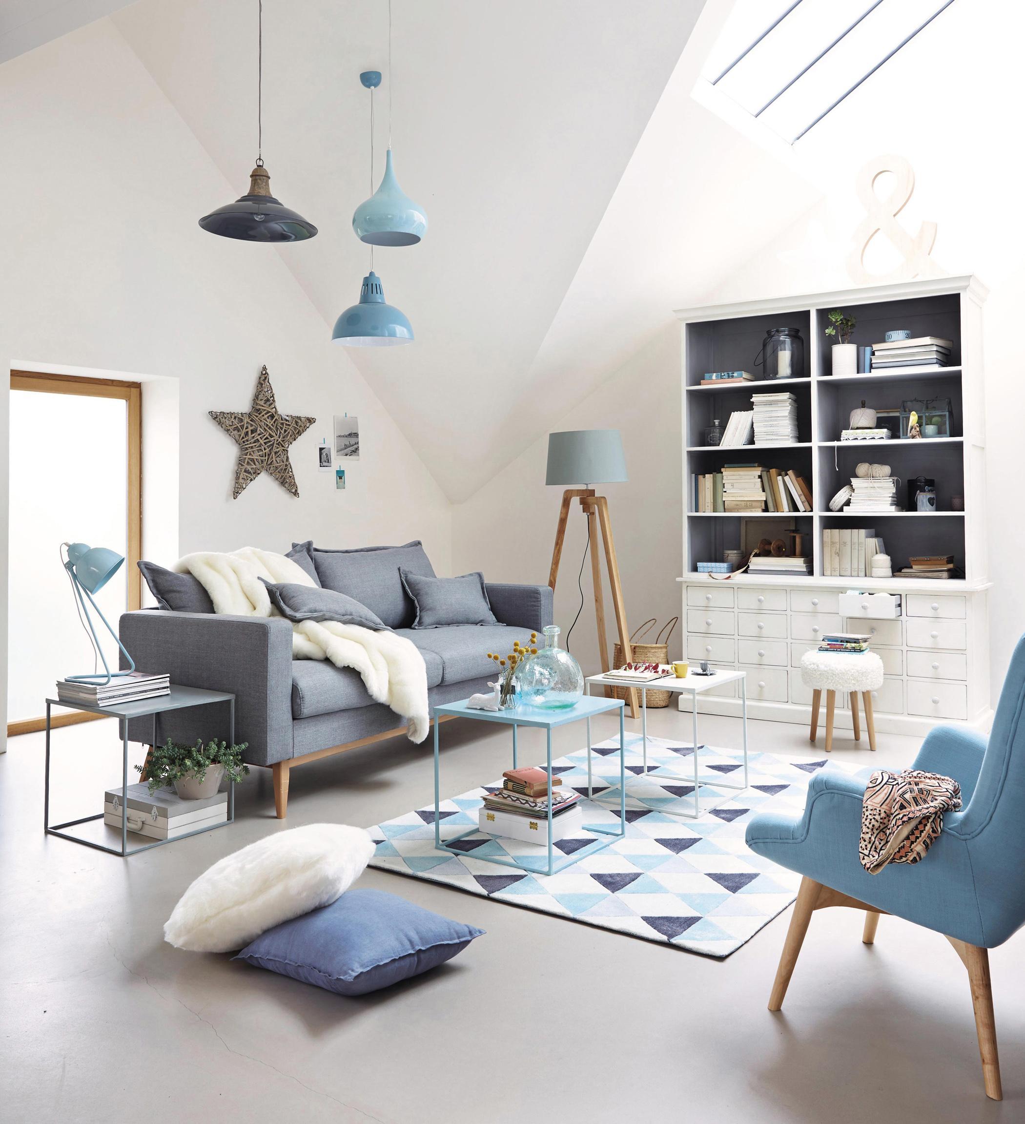 Entzuckend Wohnzimmer In Blau Grau #couchtisch #beistelltisch #teppich #sessel  #stehlampe #