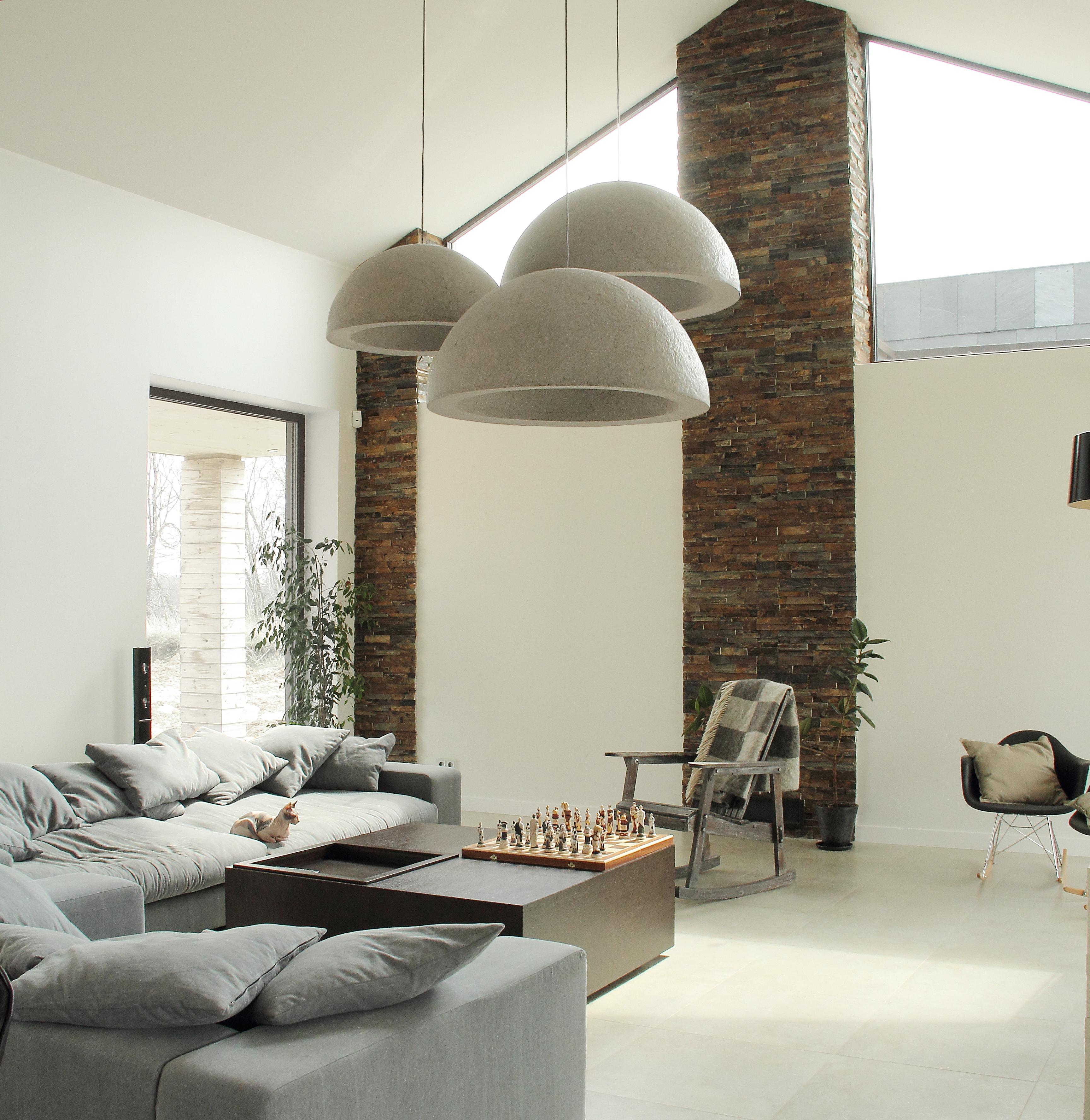 Wohnzimmer In Grau Mit Leuchten In Beton Optik