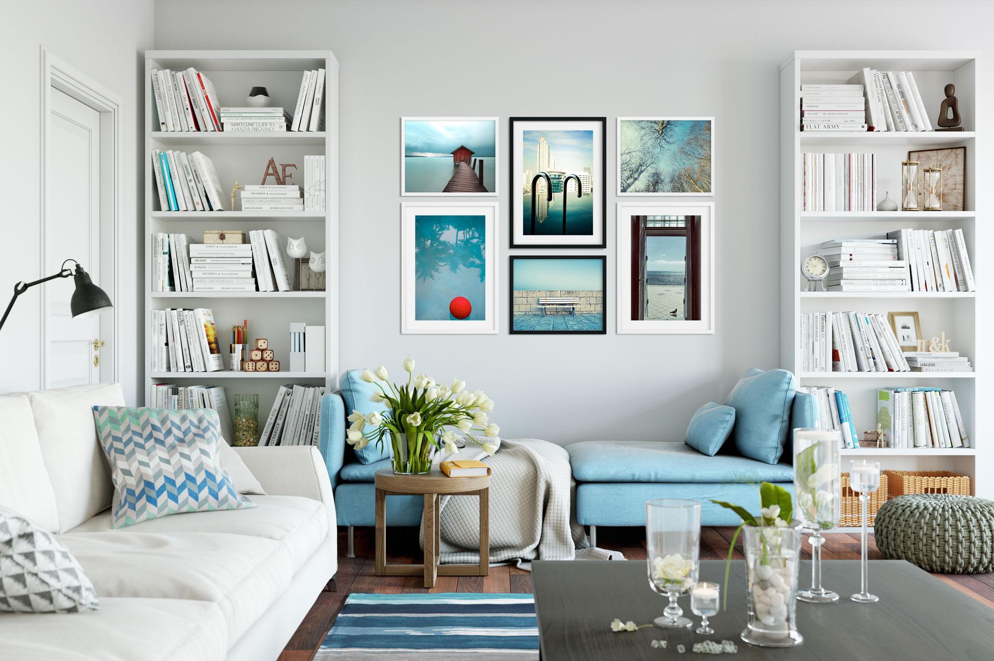 Wohnzimmer Mit Gemischter Bilderwand Bilderrahmen CPhotocircle