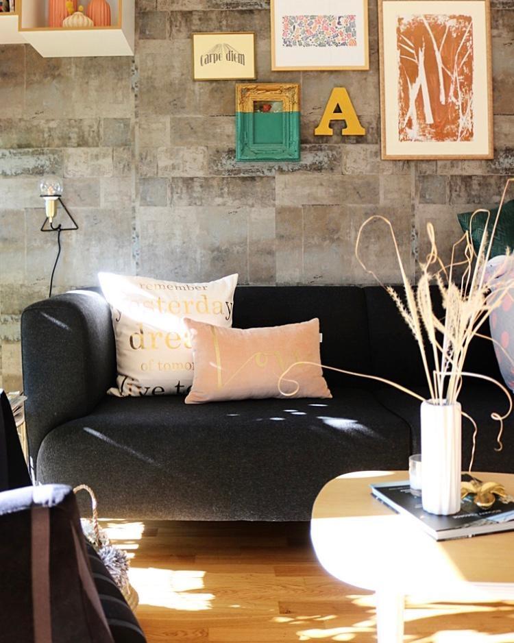 #wohnzimmer #sofa #interior #hygge #wandgestaltung #living #schwarz #home