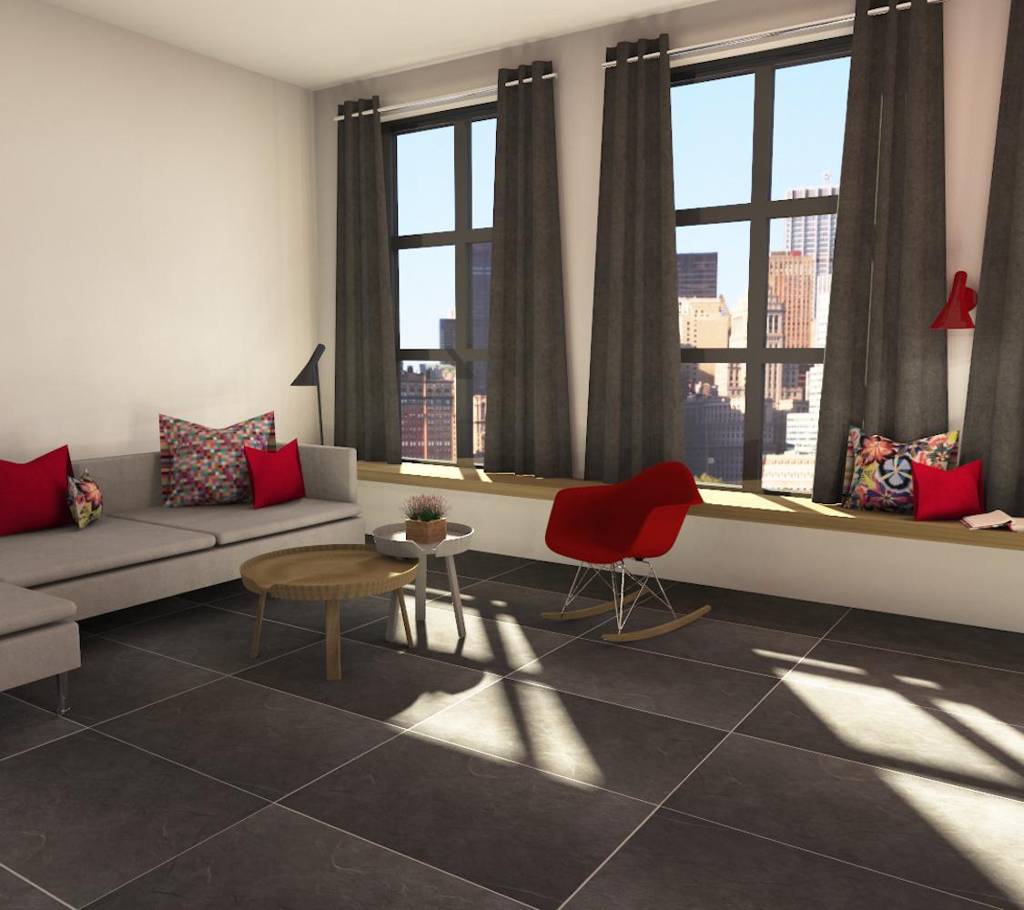 Wohnzimmer #wohnzimmer #schaukelstuhl #fensterbank #couchtischset  ©Fliesenmax