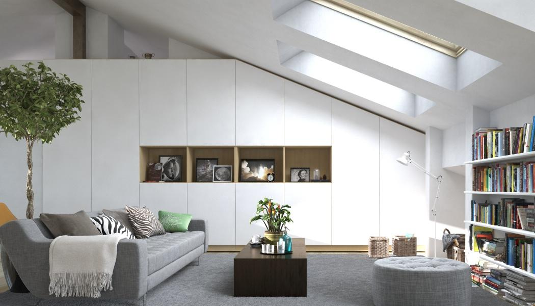 Wohnzimmerschrank Unter Dem Dach Dachschrage Schrank Dachschragenaufbewahrung Cmeine Mobelmanufaktur GmbH