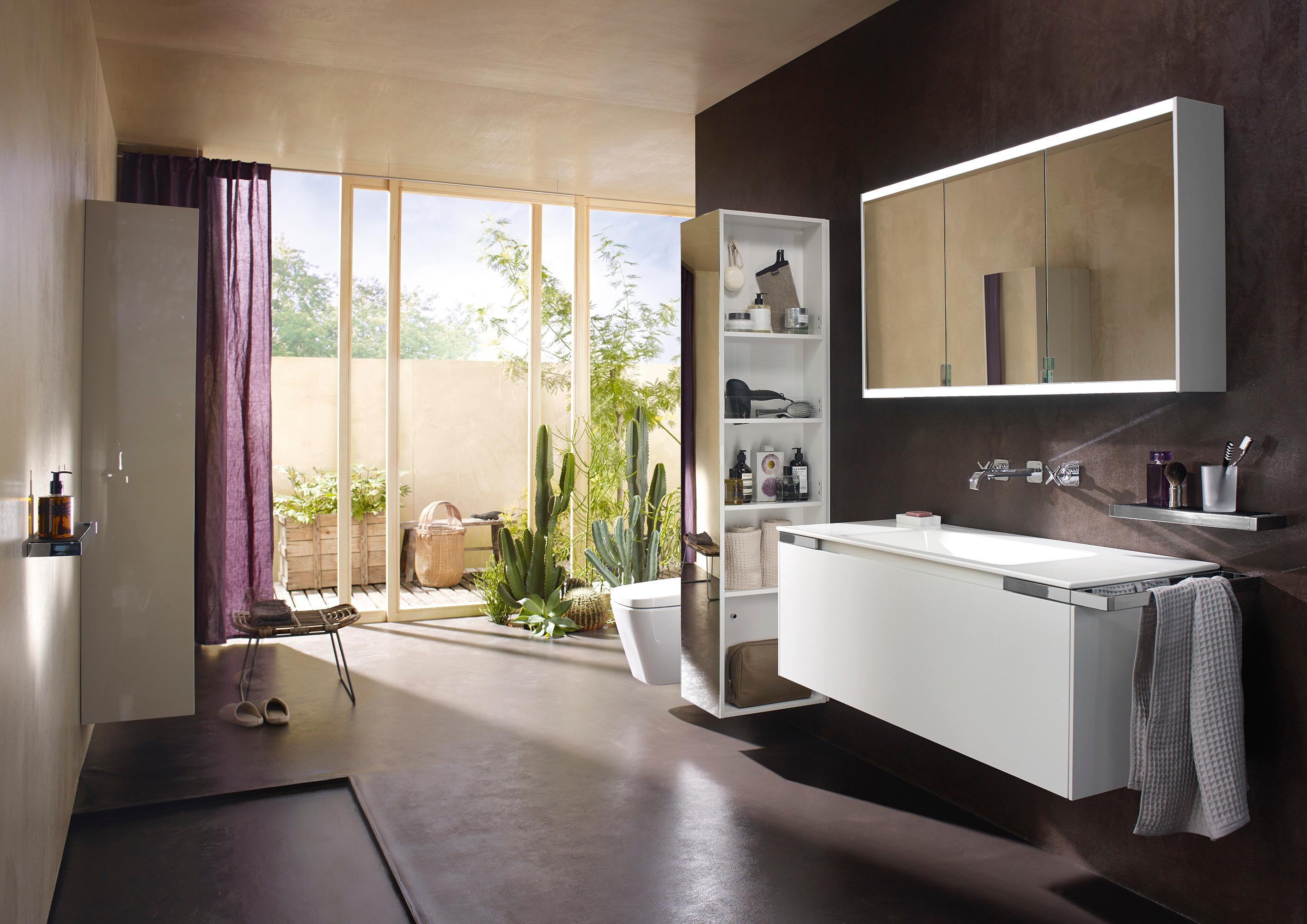 Raumteiler Bad yso weiß mit geradem waschtisch und raumteiler bad